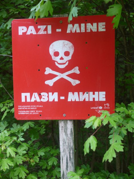 This is why there has been no wild camping in Bosnia. Most places are probably fine, but I'm not taking any chances...
