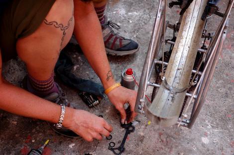 Rebuilding pulley wheels.