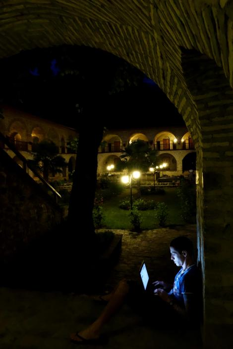 Checking my email in a 500 year old Caravansari