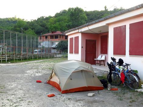 Camping at the football field.