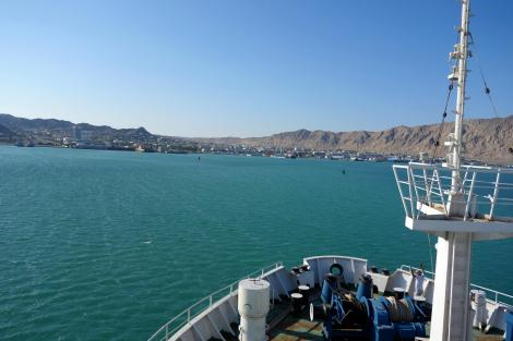 Into Turkmenbashi, at long last