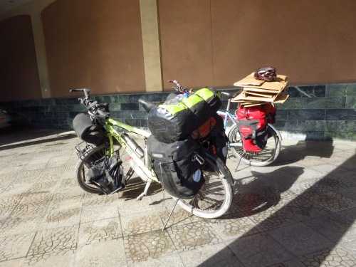 Bikes loaded to leave with boxes